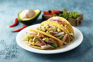 rotisserie chicken tacos on a plate